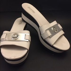 Michael Kors white and black wedge sandals 9 1/2M